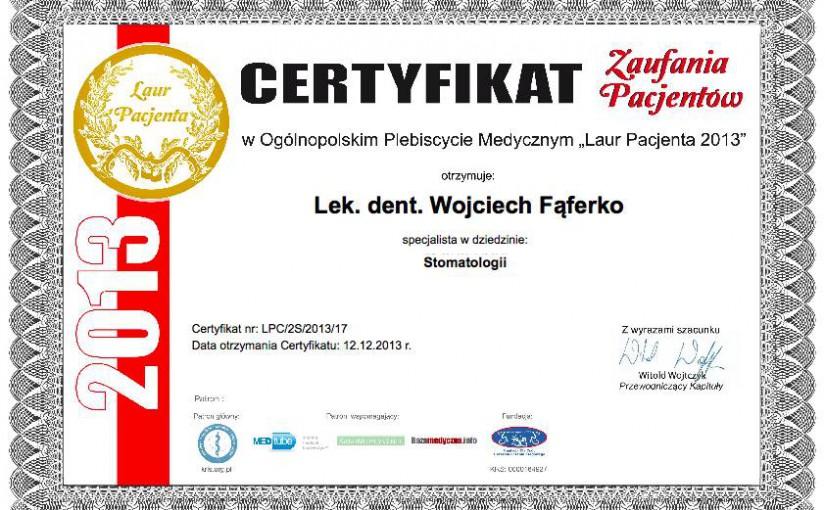 Wojciech_Faferko_laur_pacjenta